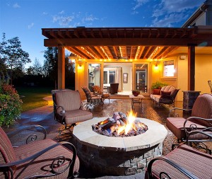 HHHunt Homes Outdoor Fireplace at Muirfield Valley Community