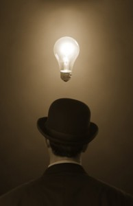 Man With Lightbulb Over His Head